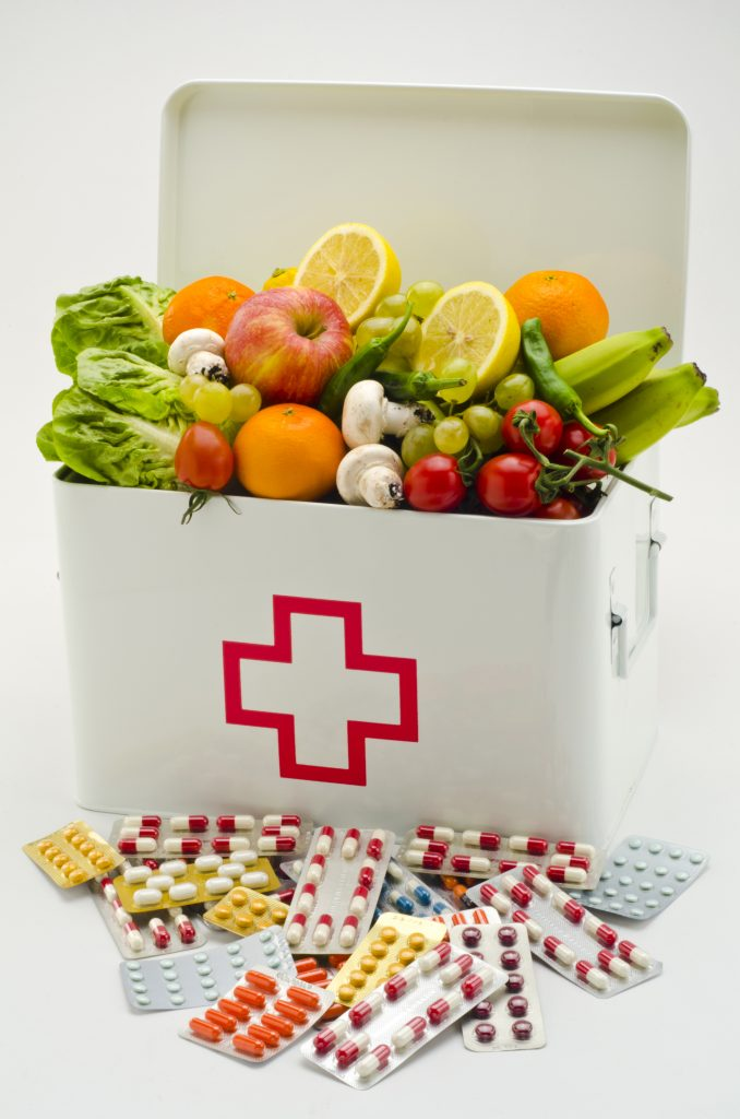 First aid box with drugs